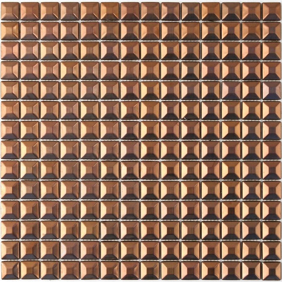 Solistone Byzantine Metal Copper Uniform Squares Mosaic Metal Wall Tile (Common: 12-in x 12-in; Actual: 12-in x 12-in)