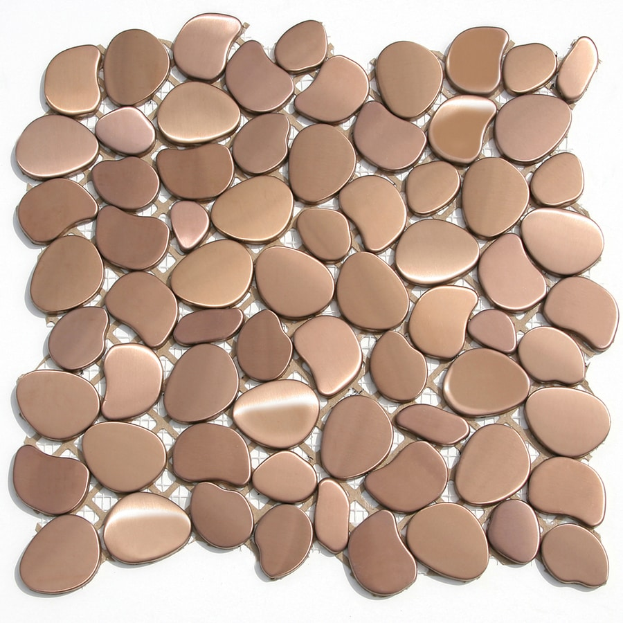 Solistone Metal Freeform Brushed Copper Mosaic Metal Wall Tile (Common: 11-in x 11-in; Actual: 11-in x 11-in)