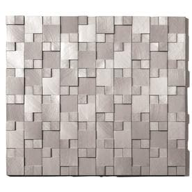 Solistone Aluminum 10 Pack Brushed Silver Mixed Pattern Mosaic Wall Tile Common