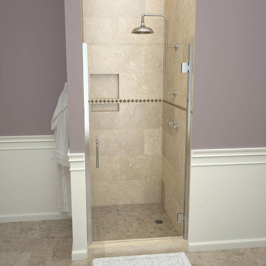 Redi Swing 72 In H X 24 5625 In To 25 5625 In W Frameless Hinged Polished Chrome Shower Door Clear Glass In The Shower Doors Department At Lowes Com