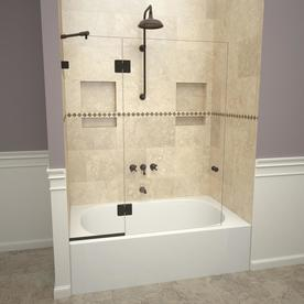 Redi Screen 2000V Series 45 in. W x 60 in. H Semi-Frameless Fixed Tub Door with Swing Panel in Oil Rubbed Bronze and Clear Glass