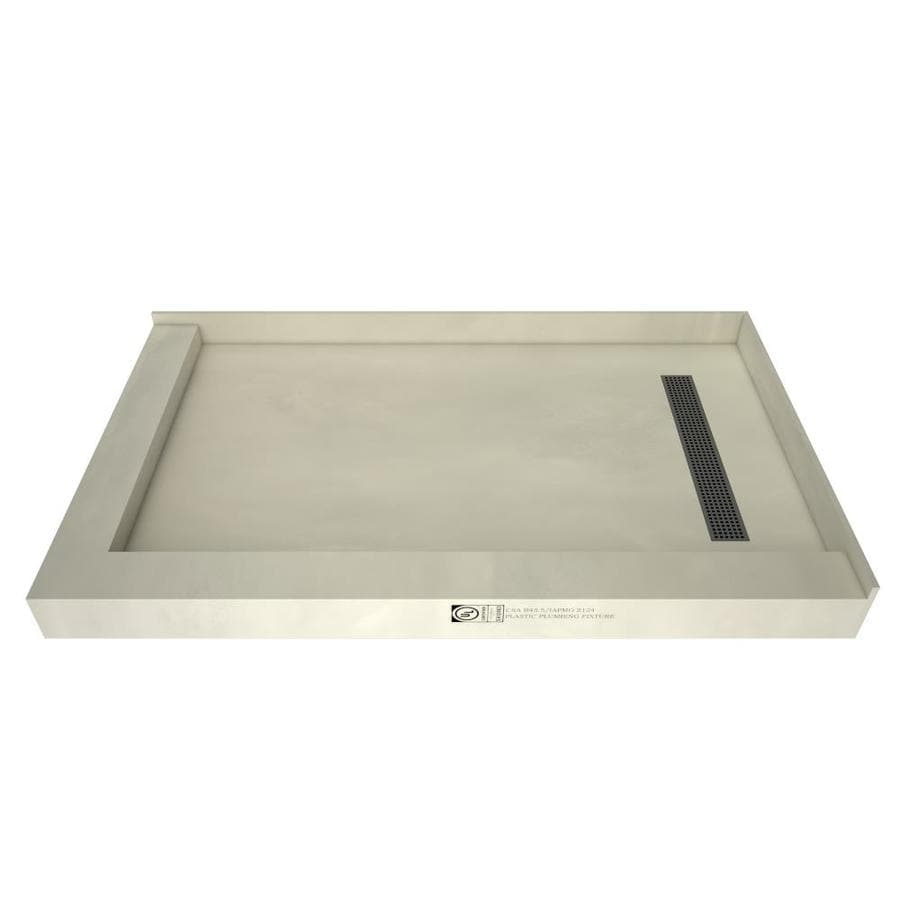 Redi Trench Made for Tile Molded Polyurethane Shower Base (Common: 48-in W x 60-in L; Actual: 48-in W x 60-in L) with Right Drain