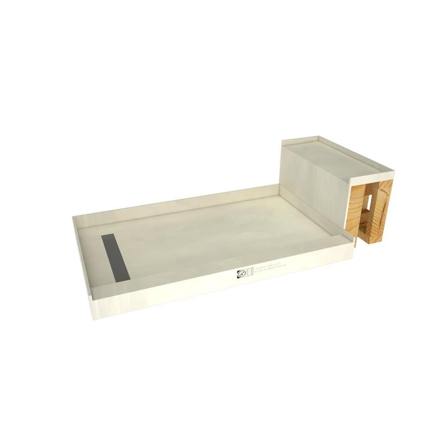 Base'N Bench Made for Tile Molded Polyurethane Shower Base (Common: 34-in W x 60-in L; Actual: 34-in W x 60-in L) with Left Drain