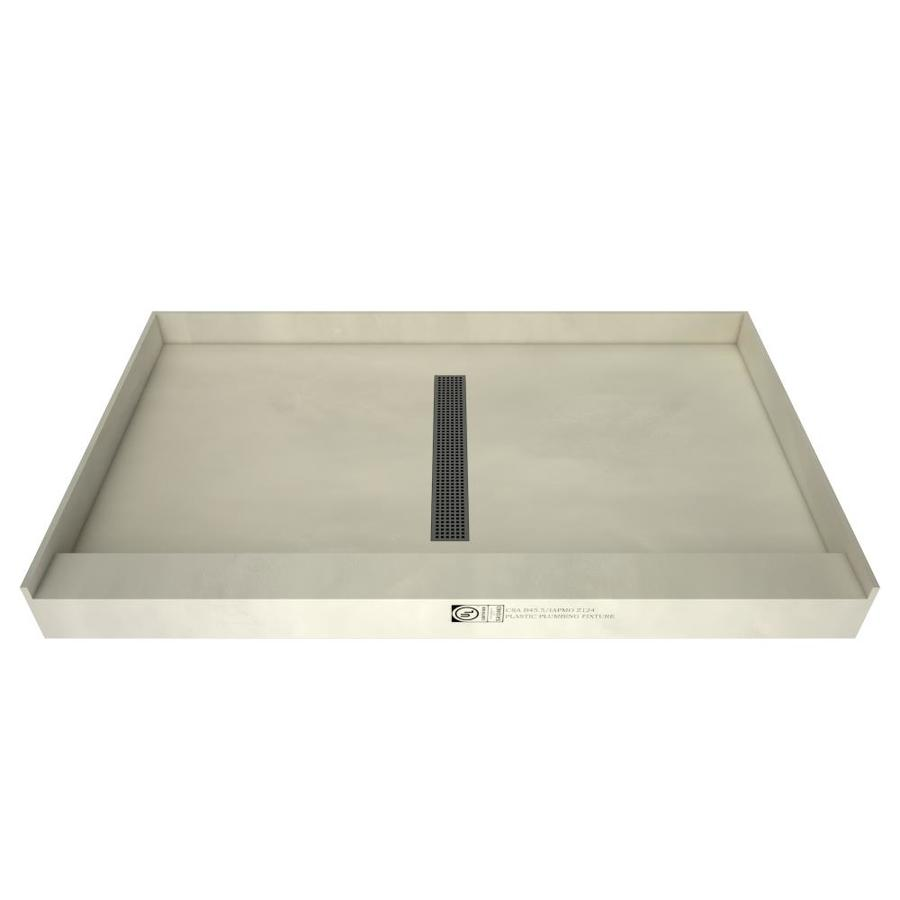 Redi Trench Gray Molded Polyurethane Shower Base (Common: 60-in W x 36-in L; Actual: 60-in W x 36-in L)