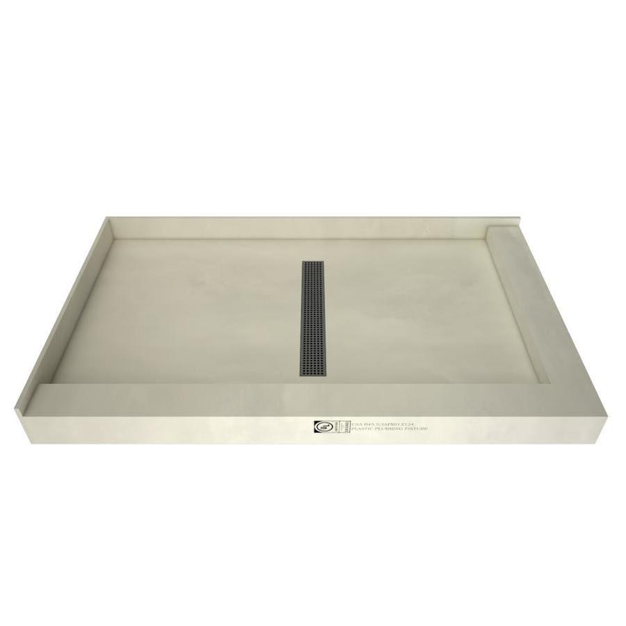 Redi Trench Gray Molded Polyurethane Shower Base (Common: 60-in W x 36-in L; Actual: 60-in W x 36-in L) with Center Drain