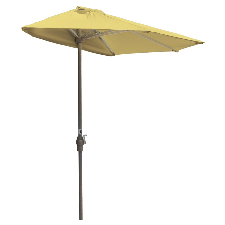 Blue Star Group Off-The-Wall Brella Yellow Half-Round Patio Umbrella (Common: 7.5-ft W x 3.75-ft L; Actual: 7.5-ft W x 3.75-ft L)