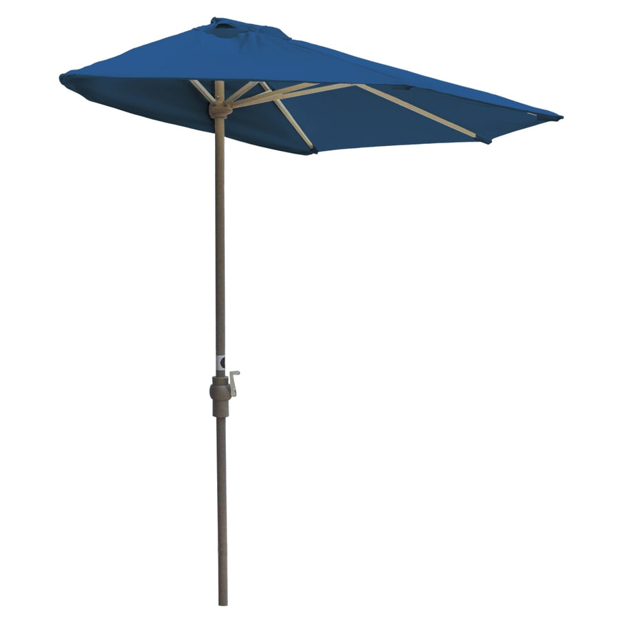 Blue Star Group Off-The-Wall Brella Pacific Blue Half-Round Patio Umbrella (Common: 9-ft W x 4.5-ft L; Actual: 8.83-ft W x 4.5-ft L)