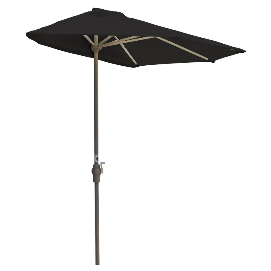 Blue Star Group Off-The-Wall Brella Black Half-Round Patio Umbrella (Common: 9-ft W x 4.5-ft L; Actual: 8.83-ft W x 4.5-ft L)