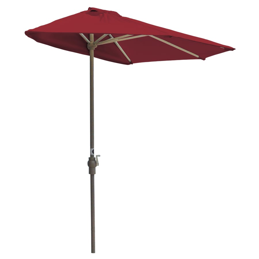 Blue Star Group Off-The-Wall Brella Jockey Red Half-Round Patio Umbrella (Common: 9-ft W x 4.5-ft L; Actual: 8.83-ft W x 4.5-ft L)