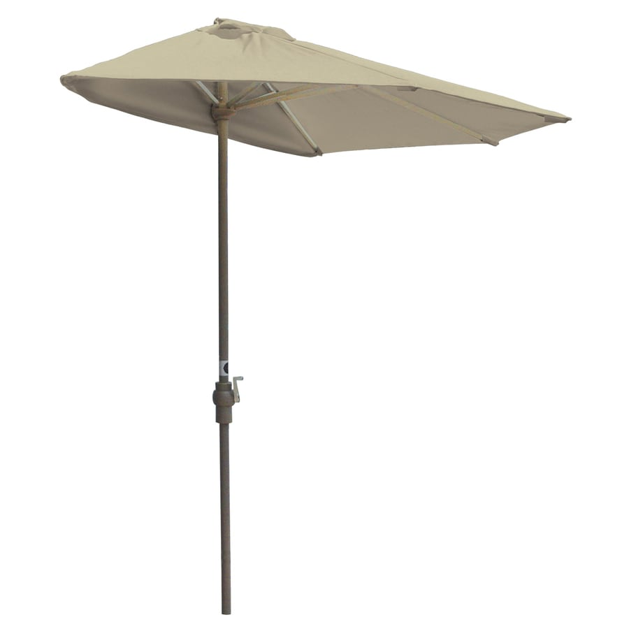 Blue Star Group Off-The-Wall Brella Antique Beige Half-Round Patio Umbrella (Common: 9-ft W x 4.5-ft L; Actual: 8.83-ft W x 4.5-ft L)