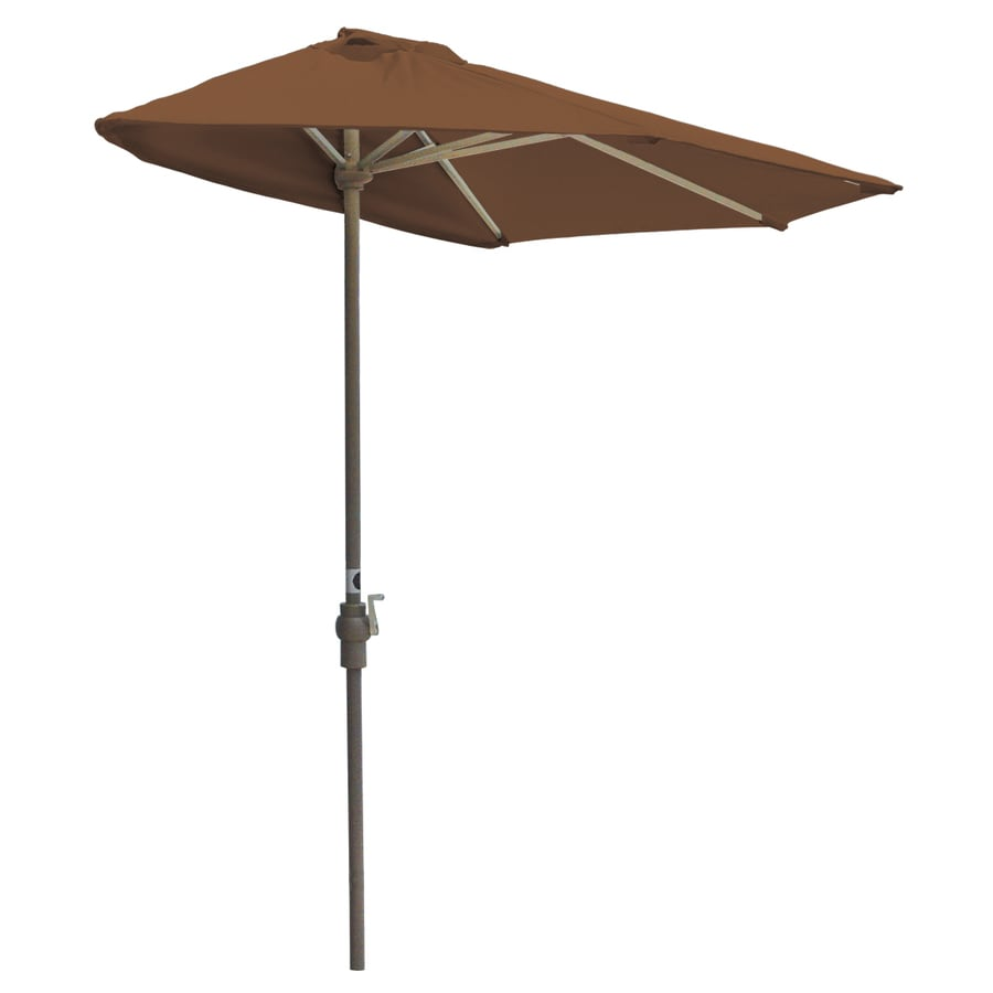 Blue Star Group Off-The-Wall Brella Teak Half-Round Patio Umbrella (Common: 9-ft W x 4.5-ft L; Actual: 8.83-ft W x 4.5-ft L)
