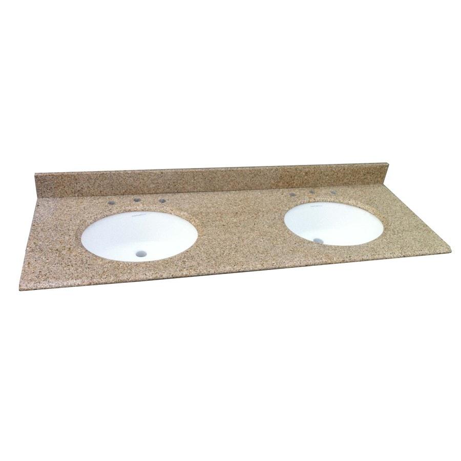 Shop allen roth desert gold granite undermount double for Granite bathroom vanity