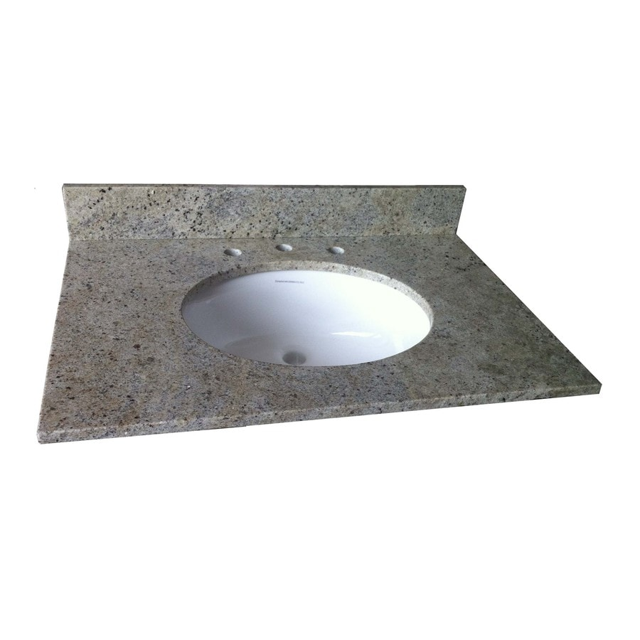 allen + roth Kashmir White Granite Undermount Single Sink Bathroom Vanity Top (Common: 37-in x 22-in; Actual: 37-in x 22-in)