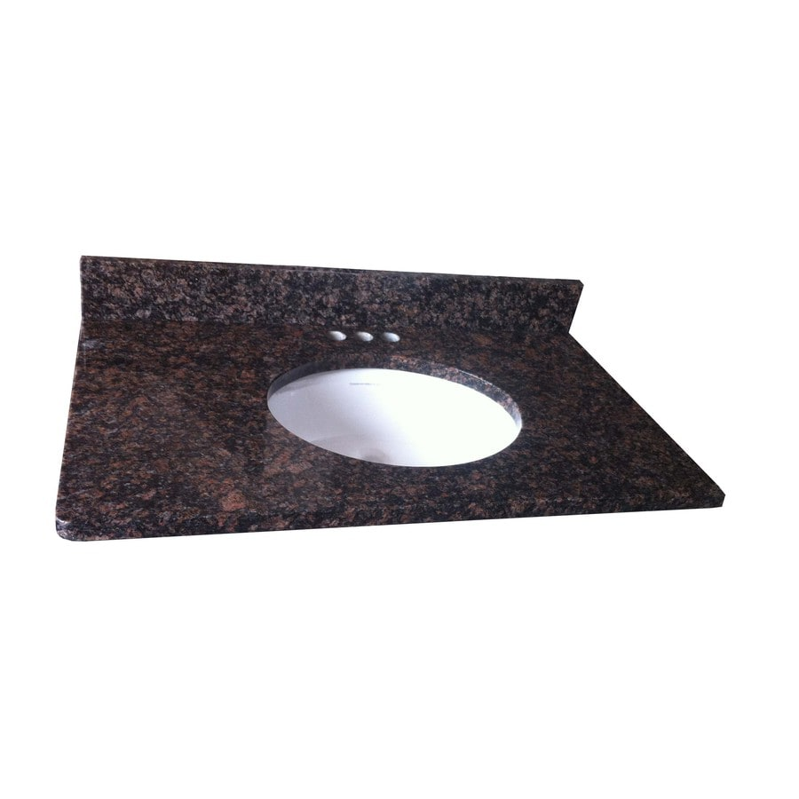 Bathroom Vanity 31 X 22 shop allen + roth tan brown granite undermount single sink