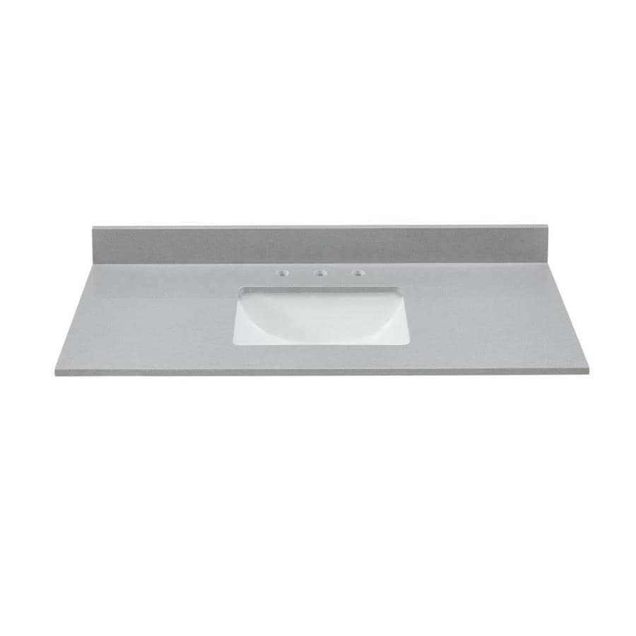 Bestview Meridian Gray Polished Engineered Marble Undermount Single Sink Bathroom Vanity Top Common