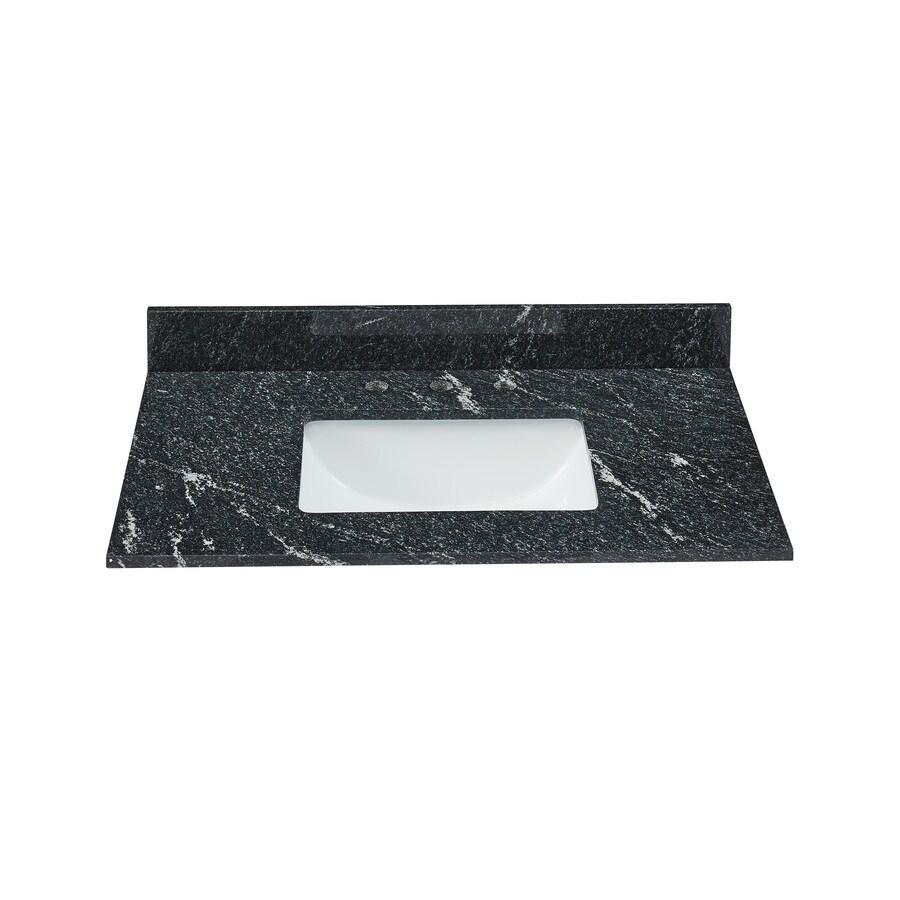 Bestview N/AN/A Black/Polished Granite Undermount Single Sink Bathroom Vanity Top (Common: 31-in x 22-in; Actual: 31-in x 22-in)
