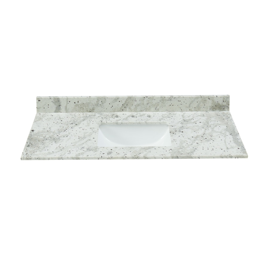 Bestview Glacier White Granite Undermount Single Sink Bathroom Vanity Top Common 43 In