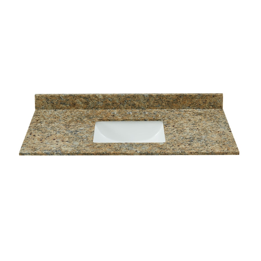 Bestview Brown/Polish Granite Undermount Single Sink Bathroom Vanity Top (Common: 49-in x 22-in; Actual: 49-in x 22-in)