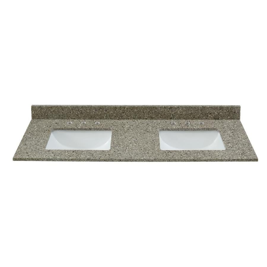 Bestview Brown/Polished Quartz Undermount Double sink Bathroom Vanity Top  (Common: 61-