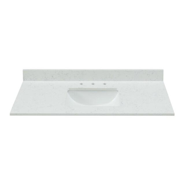 Bestview 43 In Carrara White Quartz Single Sink Bathroom Vanity Top In The Bathroom Vanity Tops Department At Lowes Com