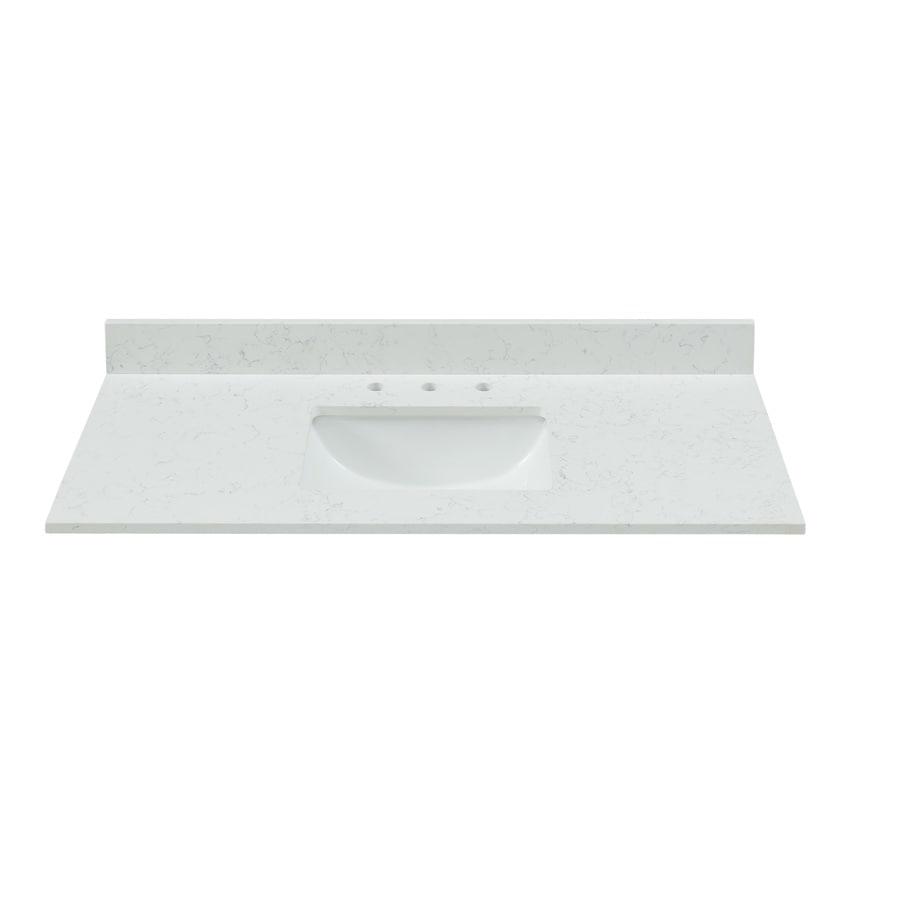Bestview White/Polished Quartz Undermount Single Sink Bathroom Vanity Top (Common: 49-in x 22-in; Actual: 49-in x 22-in)