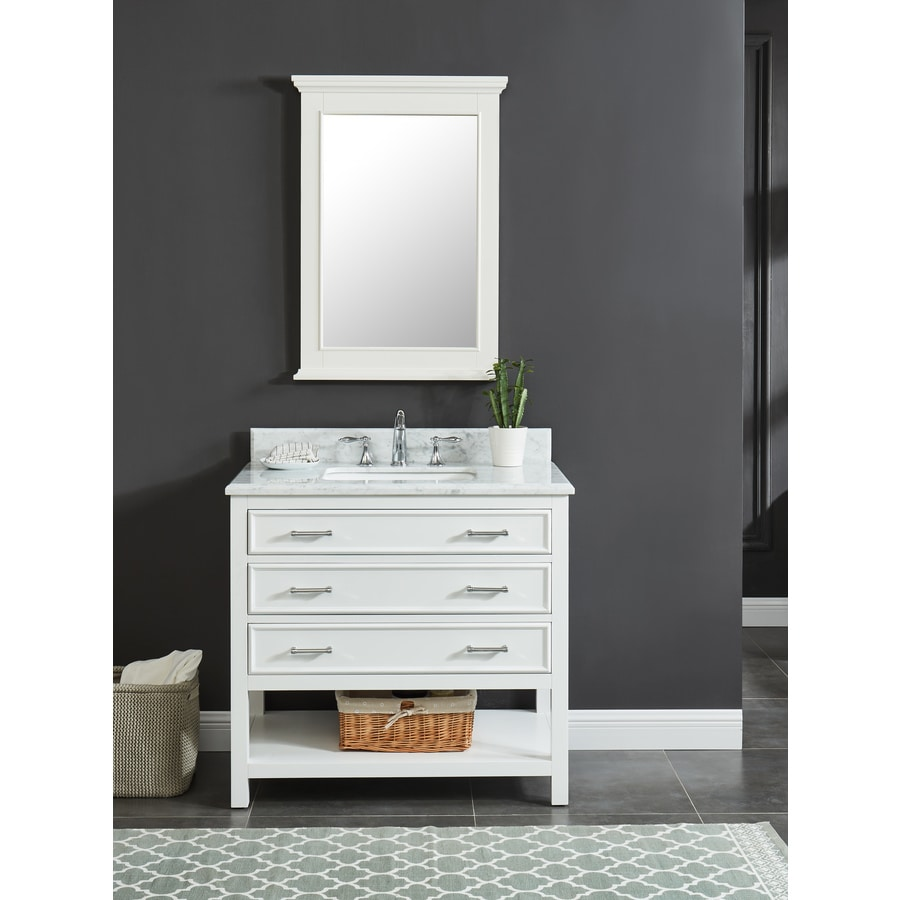 Allen Roth Presnell 37 In Dove White Single Sink Bathroom Vanity