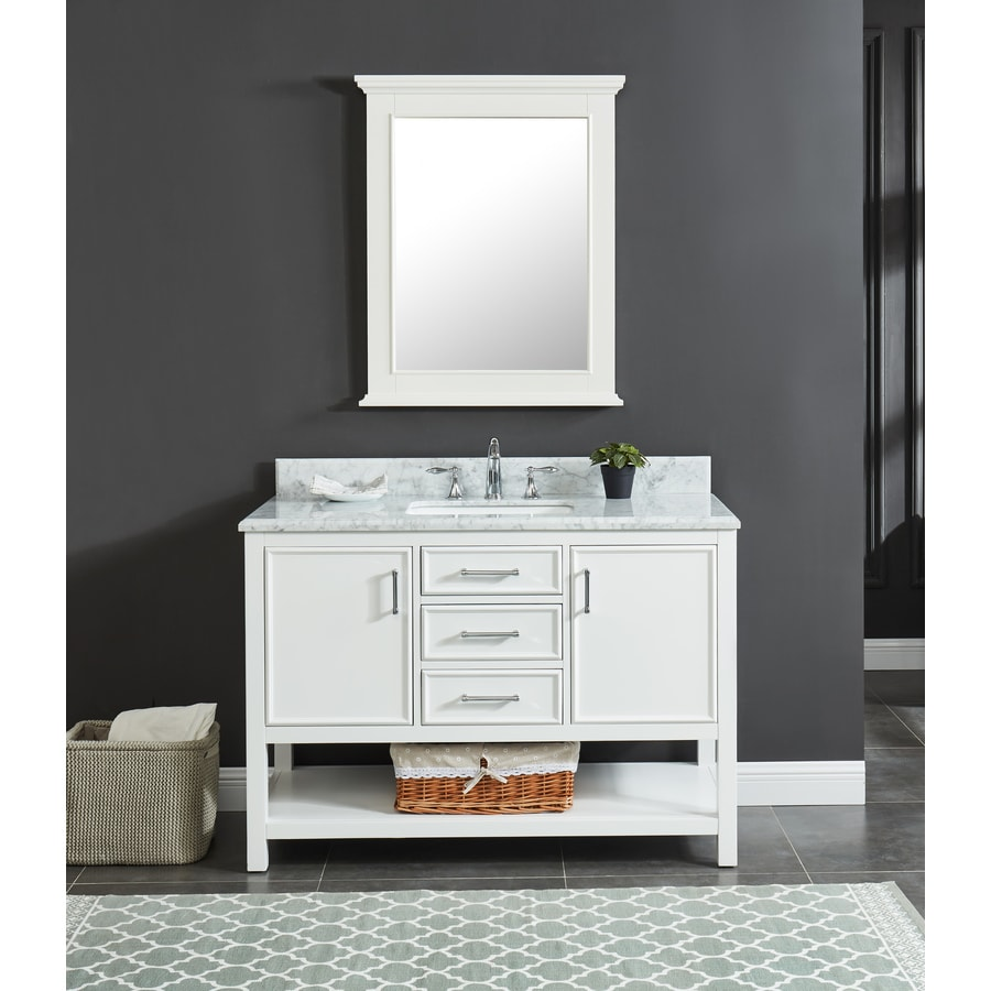 Allen Roth Presnell 49 In Dove White Single Sink Bathroom Vanity With Carrara Natural Marble Top