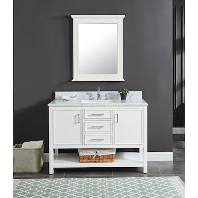 Presnell 49-in Dove White Single Sink Bathroom Vanity with Carrara White  Natural Marble Top