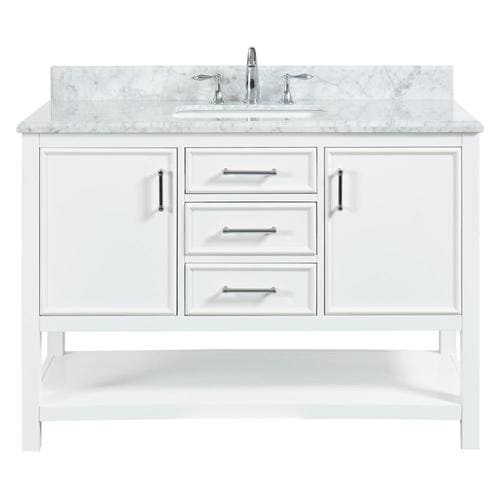 allen + roth Presnell 49-in Dove White Single Sink Bathroom Vanity with Carrara White Natural Marble Top