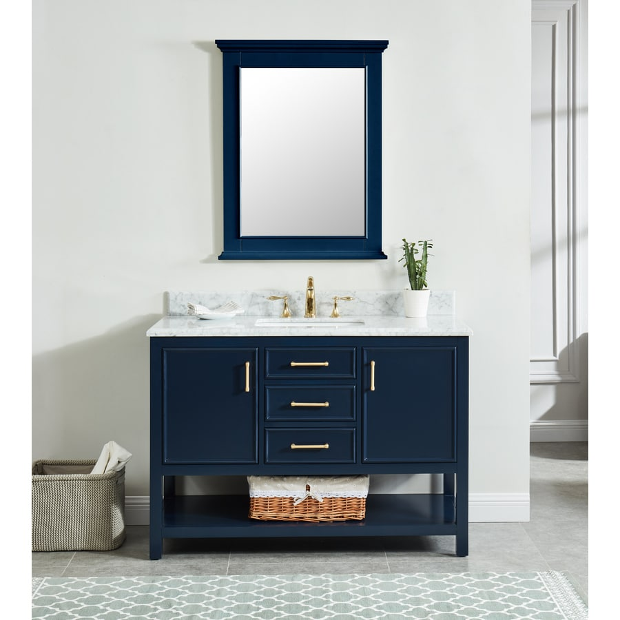 Allen Roth Presnell 49 In Navy Blue Single Sink Bathroom