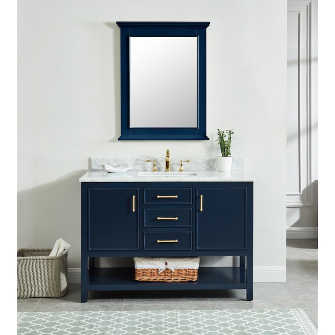 Allen Roth Presnell 49 In Navy Blue Undermount Single Sink Bathroom Vanity With Carrara White Natural Marble Top In The Bathroom Vanities With Tops Department At Lowes Com