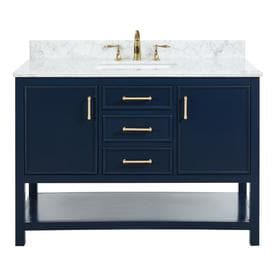 allen + roth Presnell Navy Blue Single Sink Vanity with Carrara White Natural Marble Top (