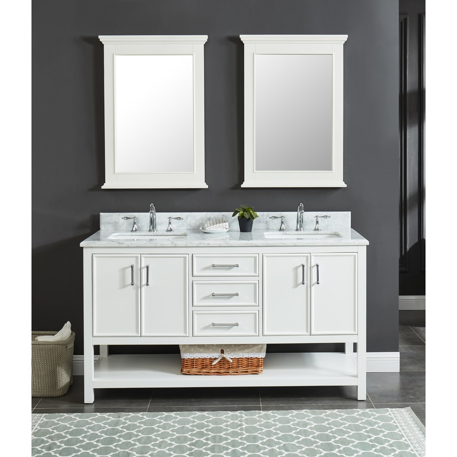 allen + roth Presnell 61-in Dove White Double Sink Bathroom Vanity with Carrara White Natural Marble Top