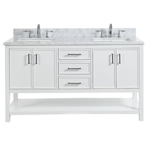 Dove White Double Sink Bathroom Vanity