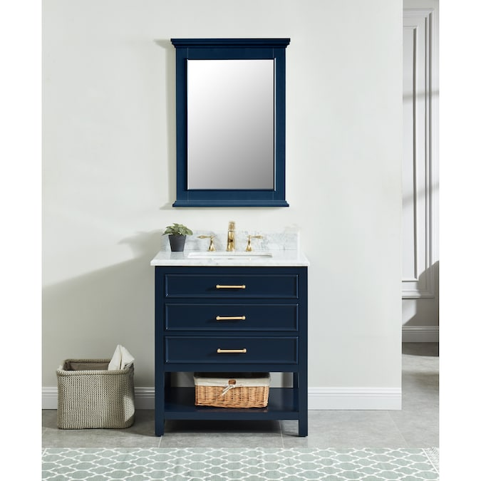 Allen Roth Presnell 31 In Navy Blue Undermount Single Sink Bathroom Vanity With Carrara White Natural Marble Top In The Bathroom Vanities With Tops Department At Lowes Com