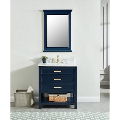 Astonishing Allen Roth Presnell 31 In Navy Blue Single Sink Bathroom Interior Design Ideas Tzicisoteloinfo