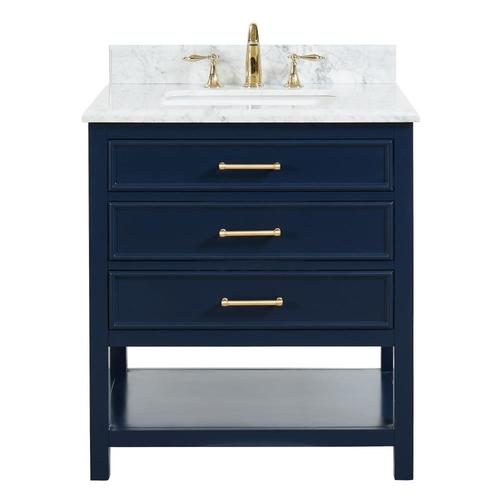 Allen + Roth Presnell 31-in Navy Blue Single Sink Bathroom Vanity With  Carrara White Natural Marble Top In The Bathroom Vanities With Tops  Department At Lowes.com