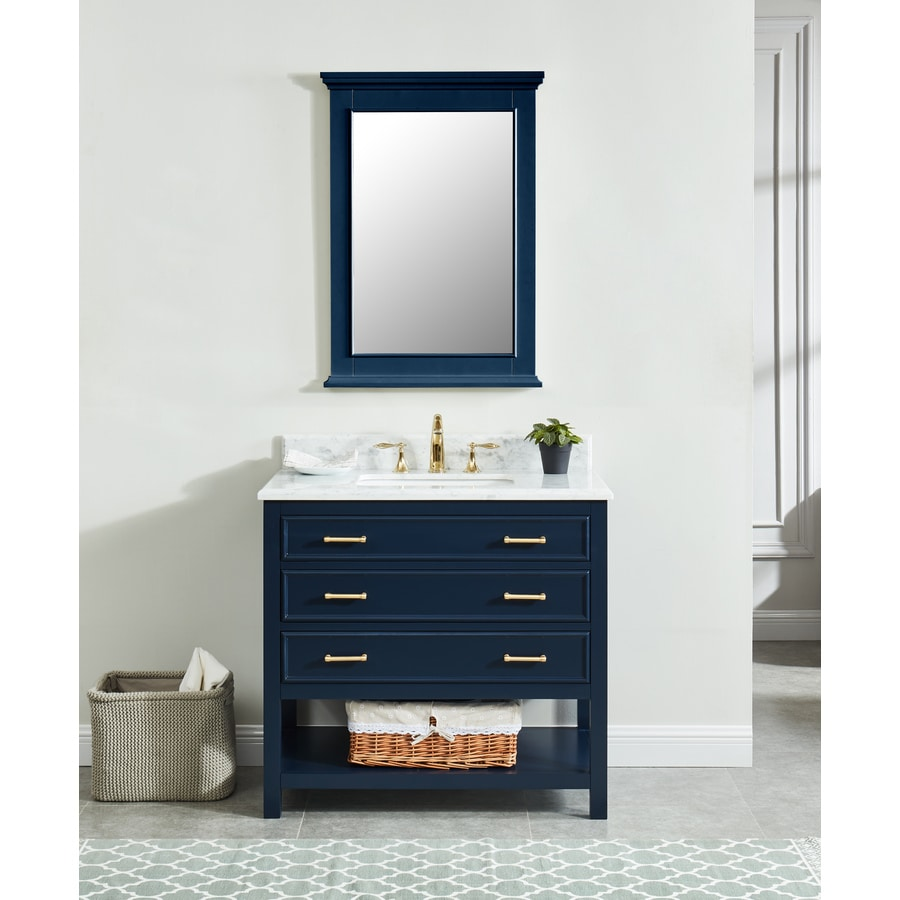 Allen Roth Presnell 37 In Navy Blue Single Sink Bathroom
