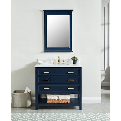 Presnell 37 In Navy Blue Single Sink Bathroom Vanity With Carrara White Natural Marble Top
