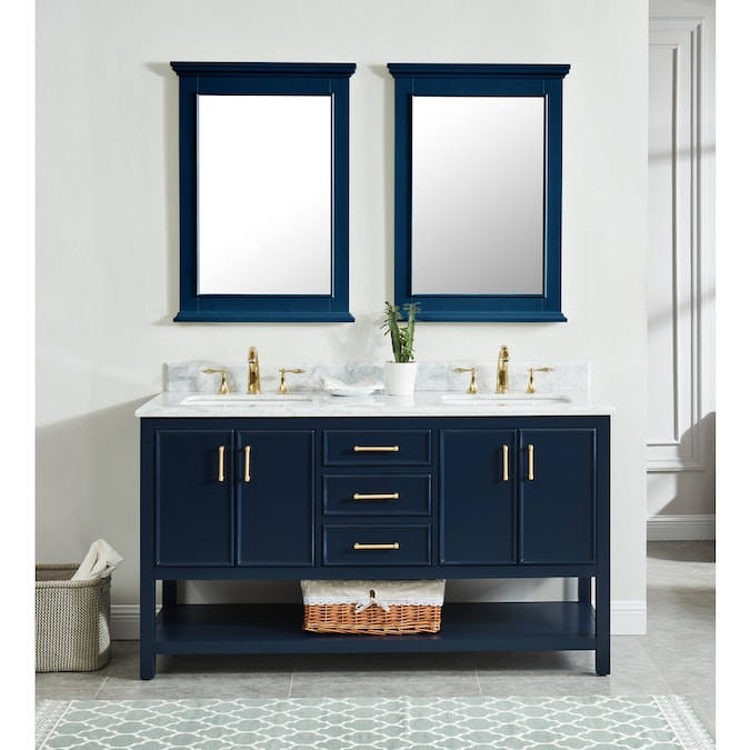 Navy Blue Double Sink Bathroom Vanity
