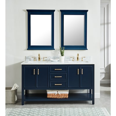 Allen Roth Presnell 61 In Navy Blue Double Sink Bathroom