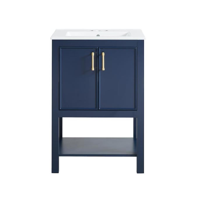 allen + roth Presnell 24-in Navy Blue Single Sink Bathroom ...