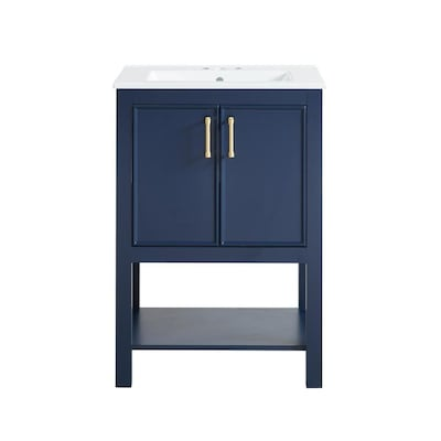 Presnell 24 In Navy Blue Single Sink Bathroom Vanity With White Porcelain Top