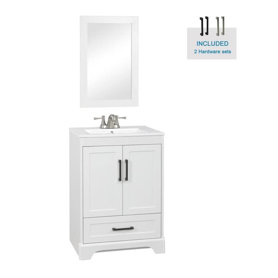 Style Selections Savannah 24 In White Single Sink Bathroom Vanity With White Porcelain Top Mirror Included In The Bathroom Vanities With Tops Department At Lowes Com