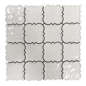 MAGNOLIA MOSAICS White 12-in x 12-in Ceramic Versailles Mosaic Deco Wall Tile (Common: 12-in x 12-in; Actual: 11.61-in x 11.61-in)
