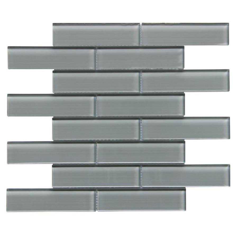 Sample Carrara White Marble Gray Glass Linear Mosaic: Bestview Sample Grey/Linen Polished Linear Mosaic Glass
