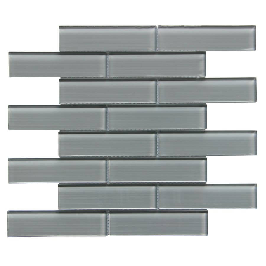 Shop Bestview Grey/Linen Polished Linear Mosaic Glass Subway Tile ...