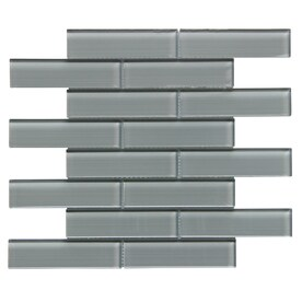 Bestview Grey/Linen Polished 12-in x 12-in Glass Linear Mosaic Subway Tile (Common: 12-in x 12-in; Actual: 11.73-in x 12.52-in)