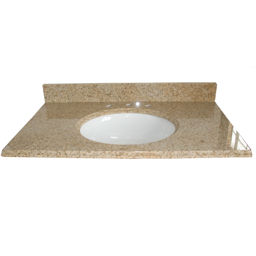 Shop allen roth desert gold granite undermount single for Granite bathroom vanity
