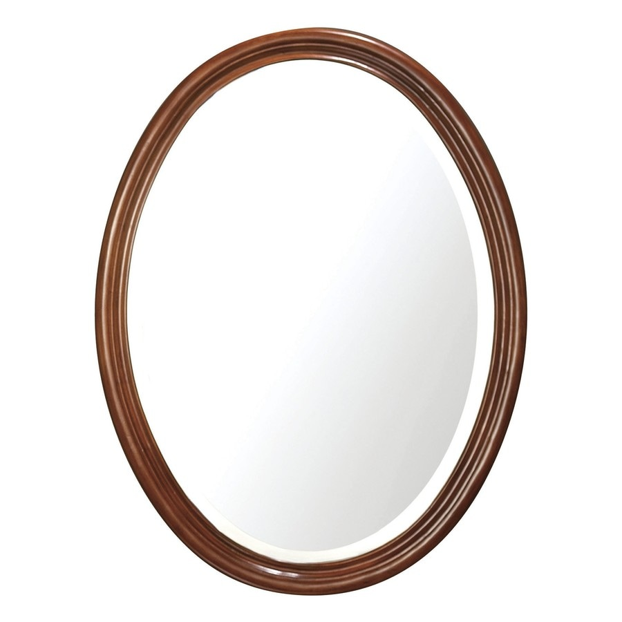 Avanity Oxford 25-in W x 33.5-in H Dark Oak Oval Bathroom Mirror